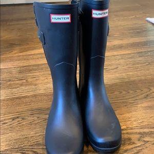 Short Navy Hunter boots